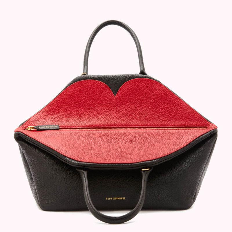 Black Leather Peekabo Lip Valentina Handbag