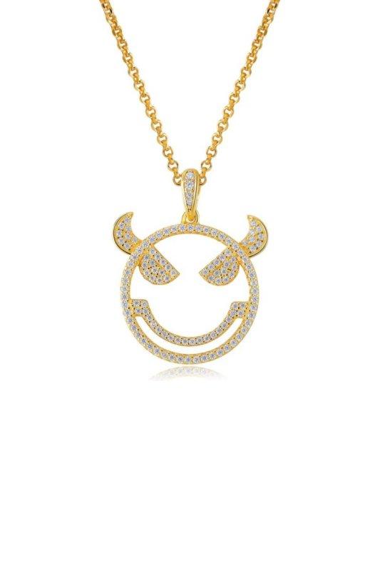 Emoji Evil Monster Silver Necklace