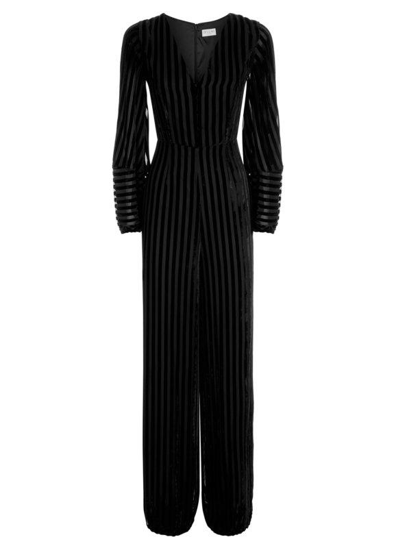 Aaloka Striped Velvet Black Jumpsuit