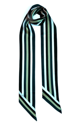 Henley Silk Stripe Neck Scarf Long Blue