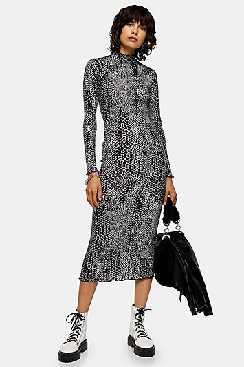 Black Animal Cut And Sew Midi Dress