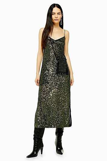 Khaki Sequin Midi Dress - Khaki