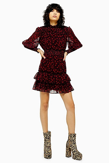 Star Ruffle Shirred Mini Dress - Red