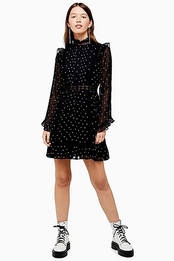 Black Dobby Spot Mini Dress - Black