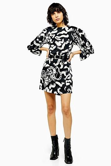 Idol Tiger Print Mini Dress - Monochrome