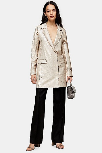 Ivory Sequin Blazer Dress - Ivory