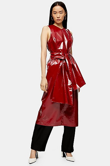 Red Patent Leather Wrap Dress