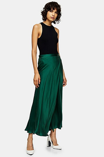 Green Silk Bias Skirt By Topshop Boutique