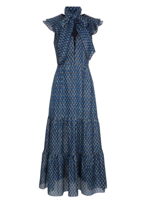 Tejal Micro Geo Deep Sea Tiered Dress