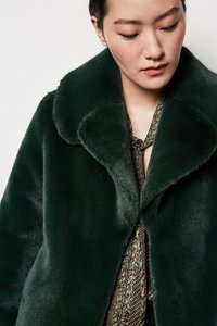 Faux Fur Jacket - Dark Green