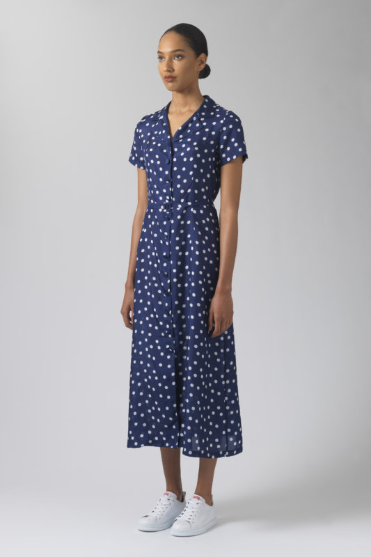Amelia polka dots silk dress