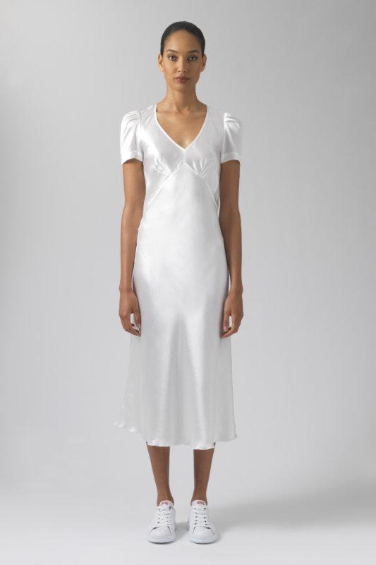 Maia white silk dress
