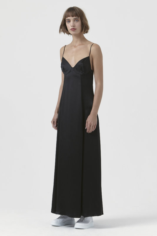 Madama Black Silk Satin Dress