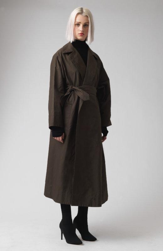 Lola khaki technical cotton trench coat