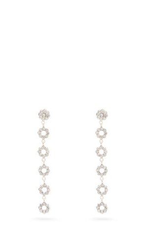 Etro - Crystal Embellished Floral Drop Earrings - Womens - Silver