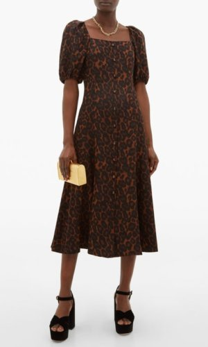 Mariona puffed-sleeve silk crepe de Chine dress