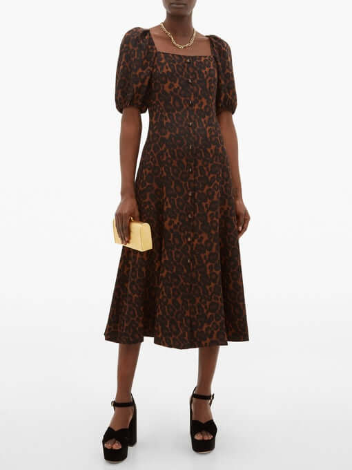 Mariona puffed-sleeve silk crepe de Chine dress