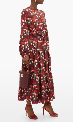 Borgo De Nor-Augustina floral-print jacquard-satin midi dress