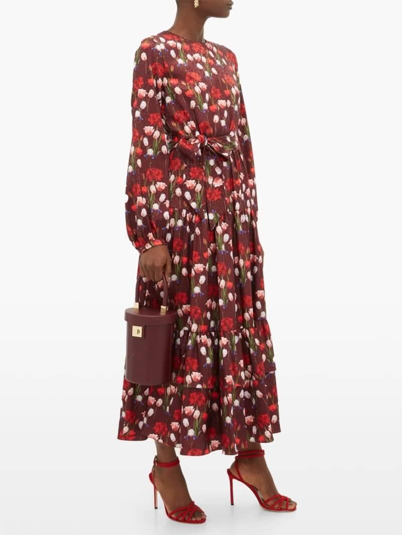 Borgo De Nor-Augustina floral-print jacquard-satin midi dress