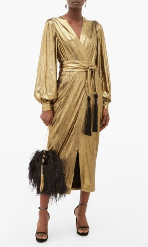Borgo De Nor - Sofi Tasselled Waist Tie Lamé Midi Dress -Gold.