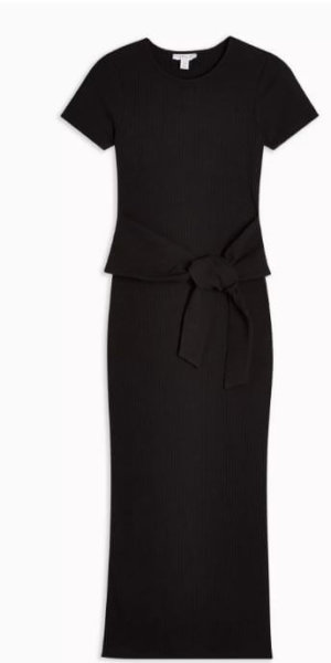 Black Belted Ribbed Column Dress - Black