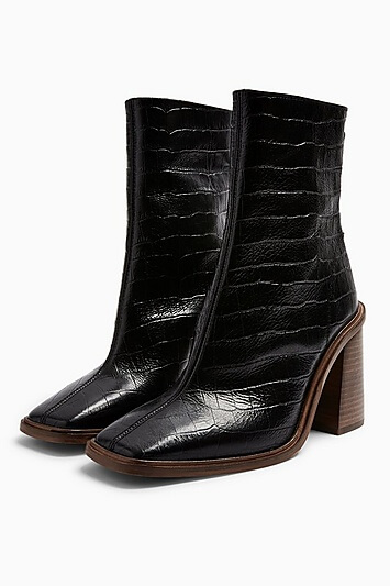 Hertford Leather Black Croc Print Boots - Black