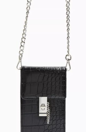 Catch Black Crocodile Mini Cross Body Bag - Black