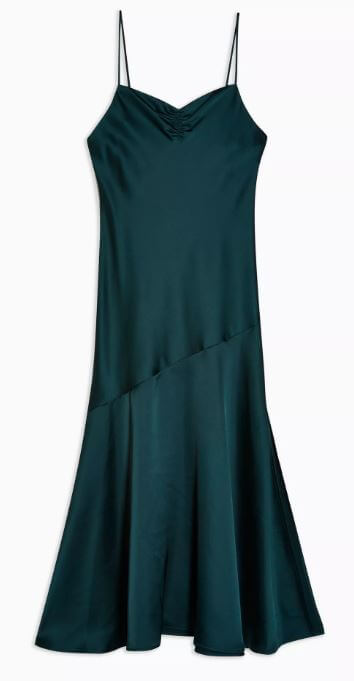 Green Ruched Bias Satin Slip Dress - Green