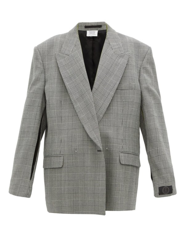 Check womens wool blazer