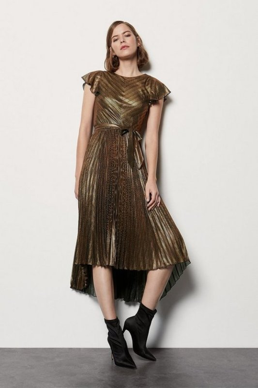 Metallic Pleated V Back Dress
