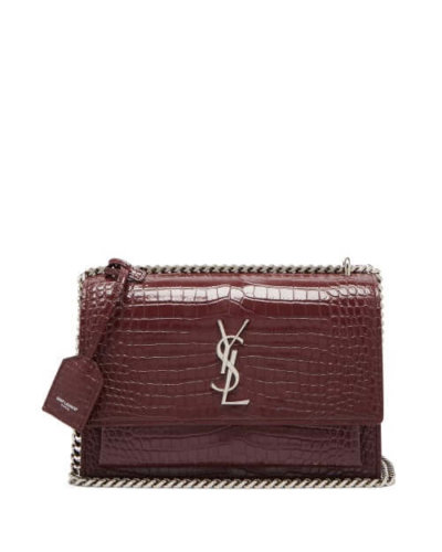 Saint Laurent | Sunset Medium Croc Effect Leather Cross Body - Burgundy
