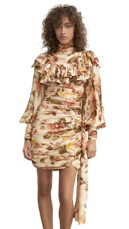 Zimmermann Resistance Ruffle Shoulder Mini Dress