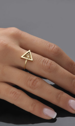 Athena Gold Triangular Ring
