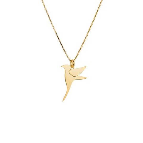 designer gift for her gold bird necklace