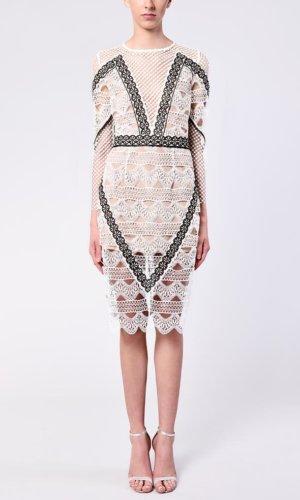 White Black Nude Crochet Long Sleeve Midi Dress