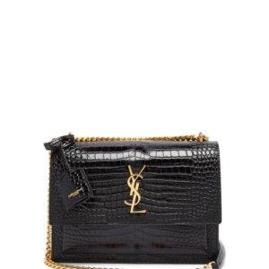 Saint Laurent | - Sunset Medium Croc-effect Leather Cross-body Bag |