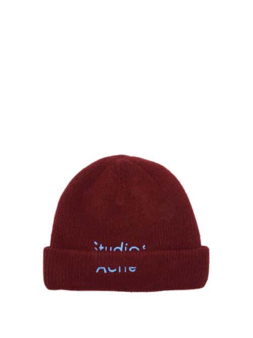 Designer gift for her Acne Studios | Kreed Logo-embroidered Wool-blend Beanie Burgundy Beanie