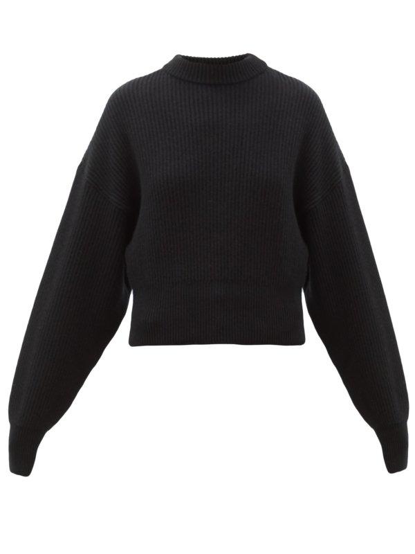 desginer black ribbed jumper