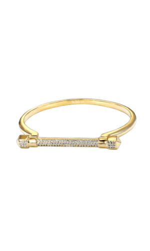 Paved Gold D Cuff Bracelet
