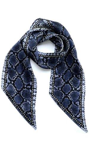 Henley Silk Stripe Neck Scarf Blue
