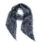 Snakeskin Silk Neck Scarf Grey