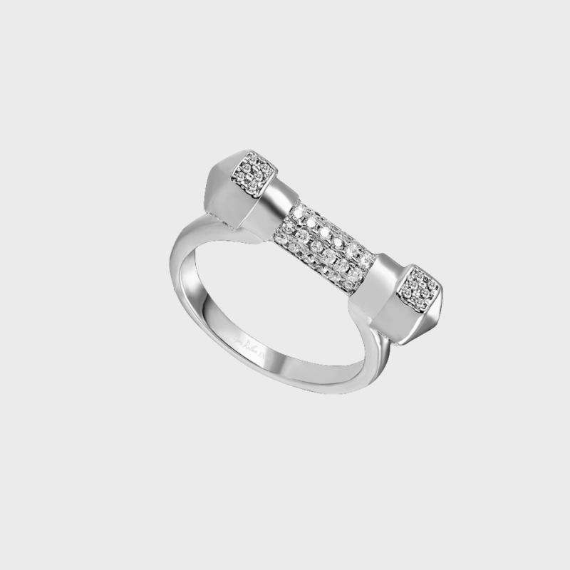 Designer gift for her Opes Robur | Pave White Gold D Ring |