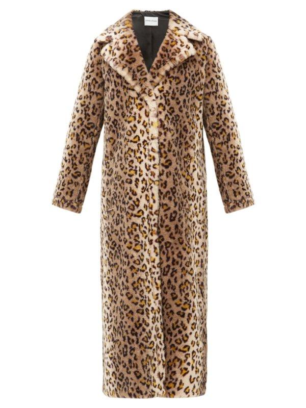 STAND STUDIO Alena leopard print faux-fur coat