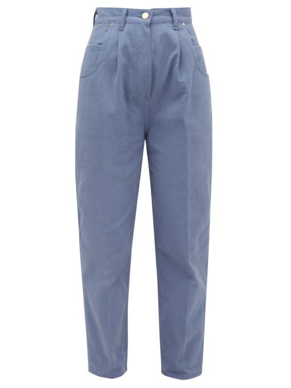 HILLIER BARTLEY Bull pleated high-rise denim jeans