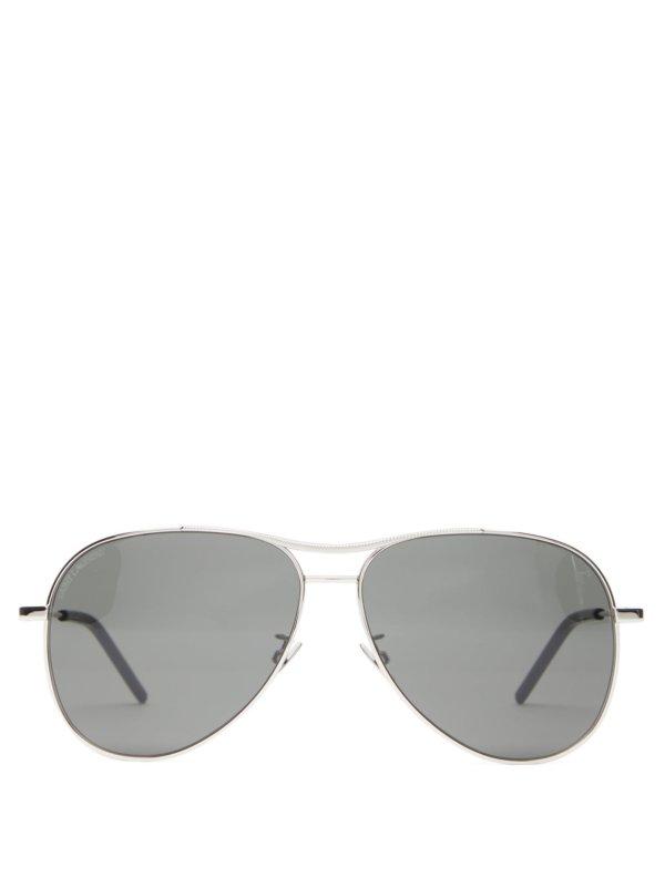 SAINT LAURENT Engraved-bridge aviator metal sunglasses