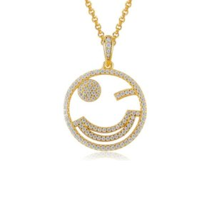 Avilio London emoji adorable wink necklace gold and silver