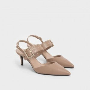 nude studded slingback heels whales and Keith