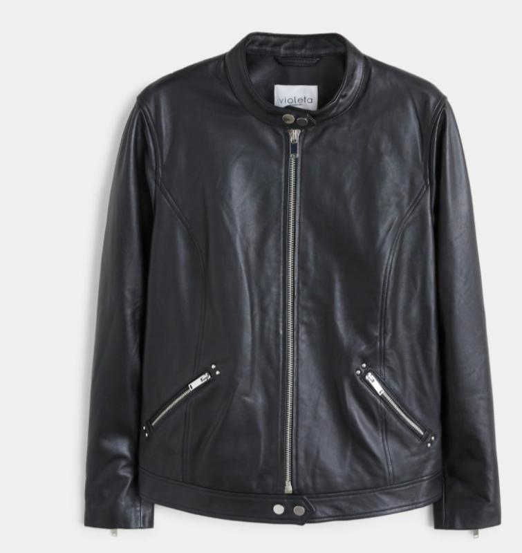Mango Womens Black Leather Jacket