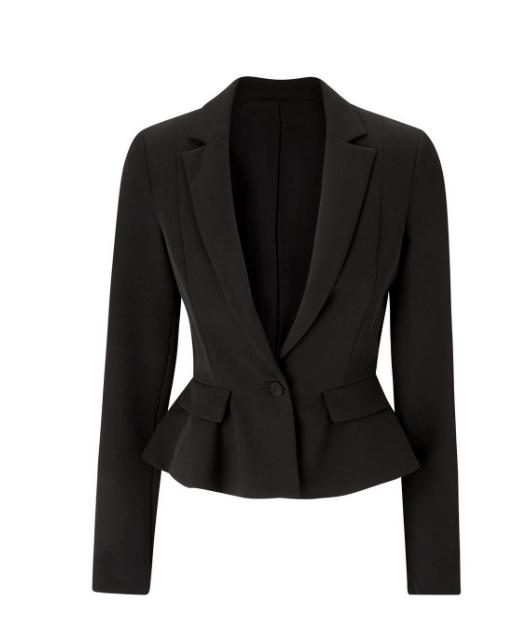 Karen Millen Black Tailored Crop Peplum Blazer
