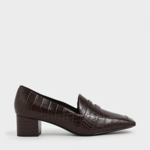 Charles & Keith | Brown Croc - Effect Square Toe Heel Loafers |